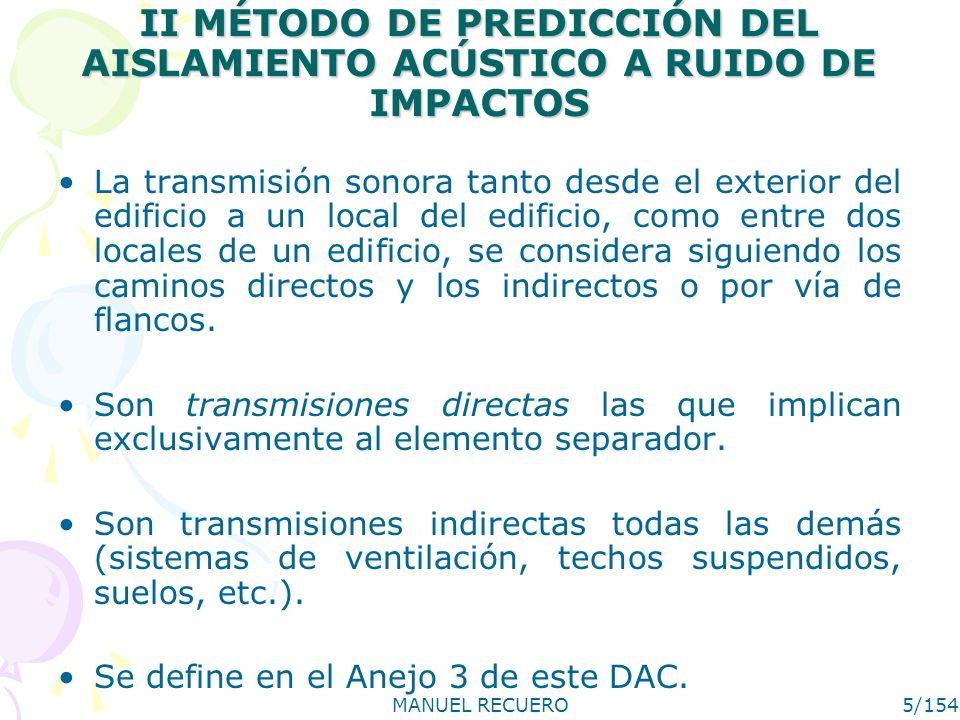 II MÉTODO DE PREDICCIÓN DEL AISLAMIENTO ACÚSTICO A RUIDO DE IMPACTOS