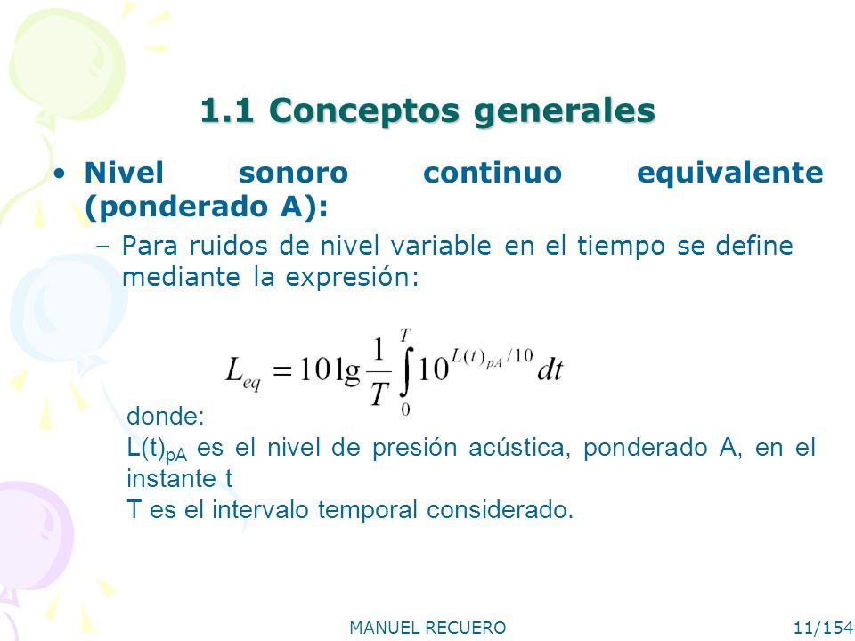 1.1 Conceptos generales Nivel sonoro continuo equivalente (ponderado A): Para ruidos de nivel variable en el tiempo se define mediante la expresión: