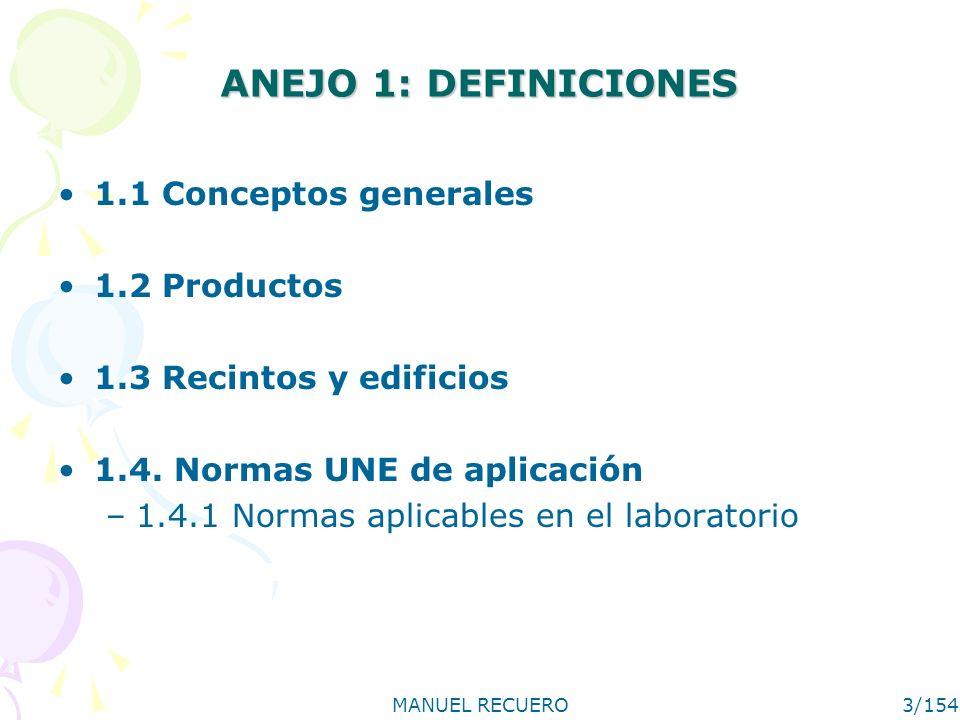 ANEJO 1: DEFINICIONES 1.1 Conceptos generales 1.2 Productos