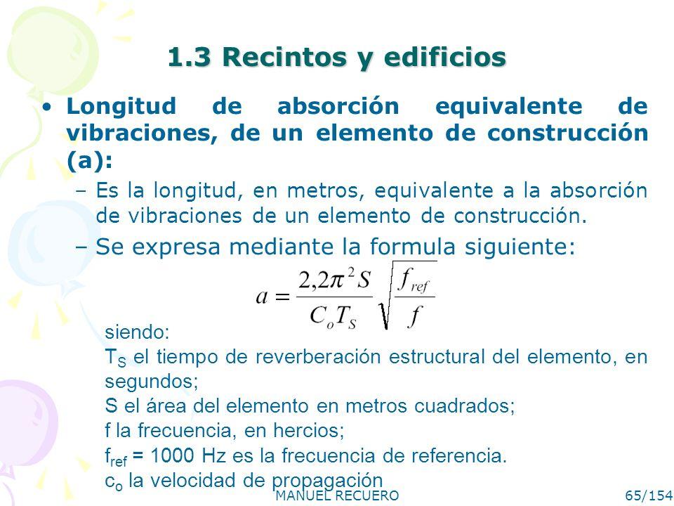 1.3 Recintos y edificios Longitud de absorción equivalente de vibraciones, de un elemento de construcción (a):