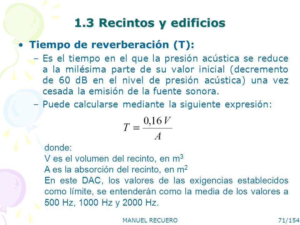1.3 Recintos y edificios Tiempo de reverberación (T):