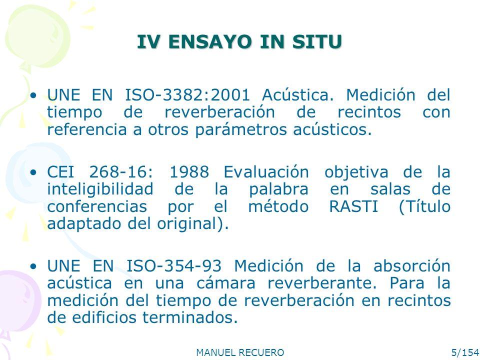 IV ENSAYO IN SITU UNE EN ISO-3382:2001 Acústica. Medición del tiempo de reverberación de recintos con referencia a otros parámetros acústicos.