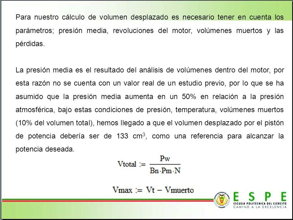 Para nuestro cálculo de volumen desplazado es necesario tener en cuenta los parámetros; presión media, revoluciones del motor, volúmenes muertos y las pérdidas.
