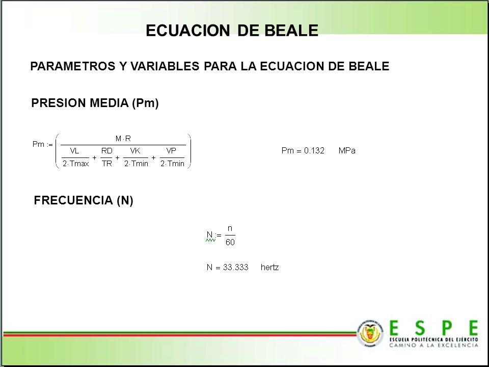 ECUACION DE BEALE PARAMETROS Y VARIABLES PARA LA ECUACION DE BEALE