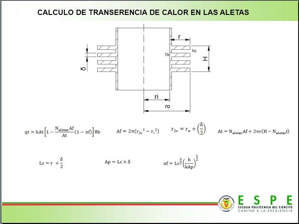 CALCULO DE TRANSERENCIA DE CALOR EN LAS ALETAS