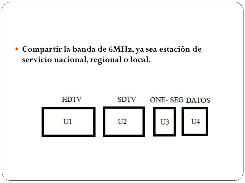 Compartir la banda de 6MHz, ya sea estación de servicio nacional, regional o local.