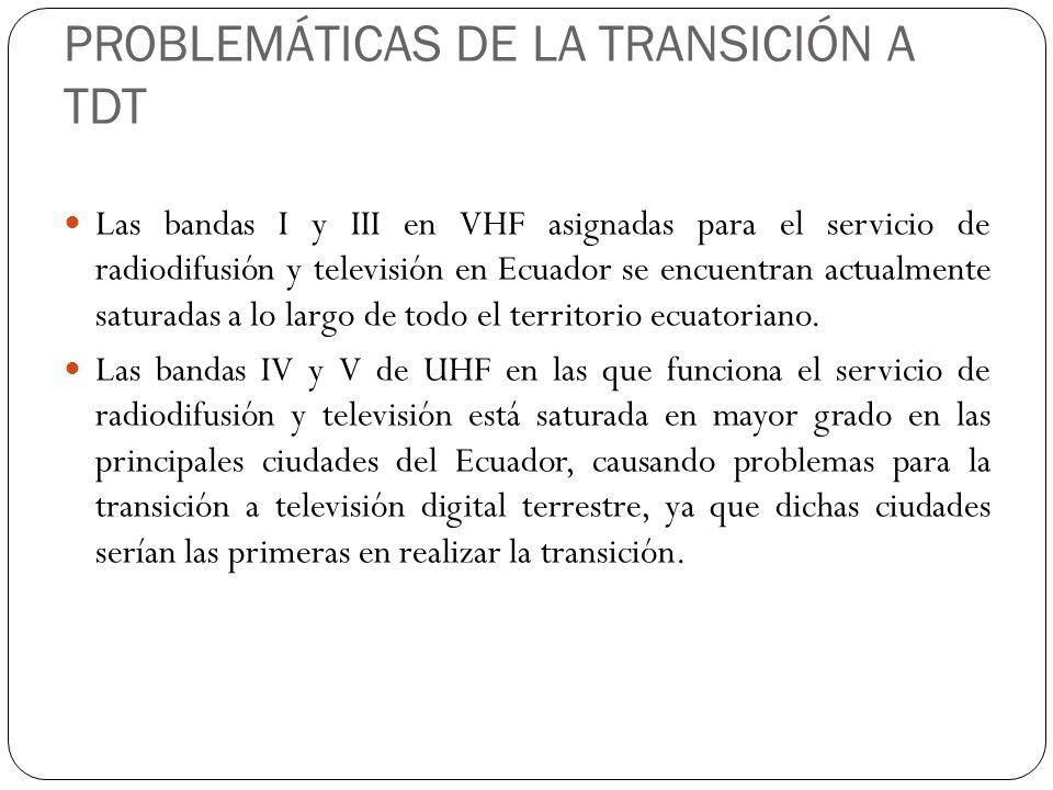 PROBLEMÁTICAS DE LA TRANSICIÓN A TDT