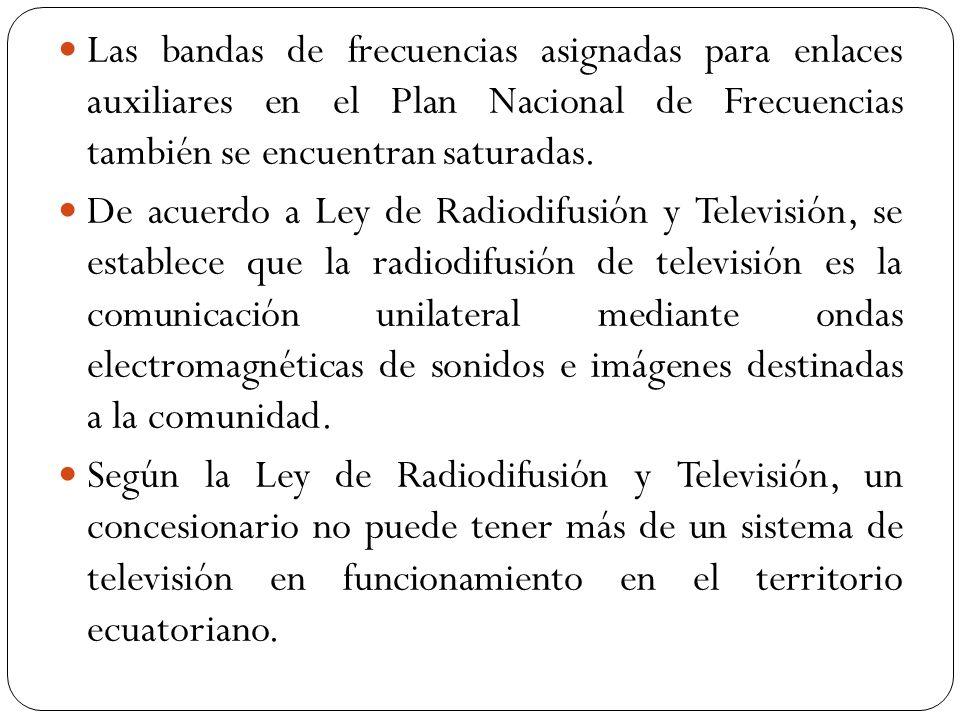 Las bandas de frecuencias asignadas para enlaces auxiliares en el Plan Nacional de Frecuencias también se encuentran saturadas.