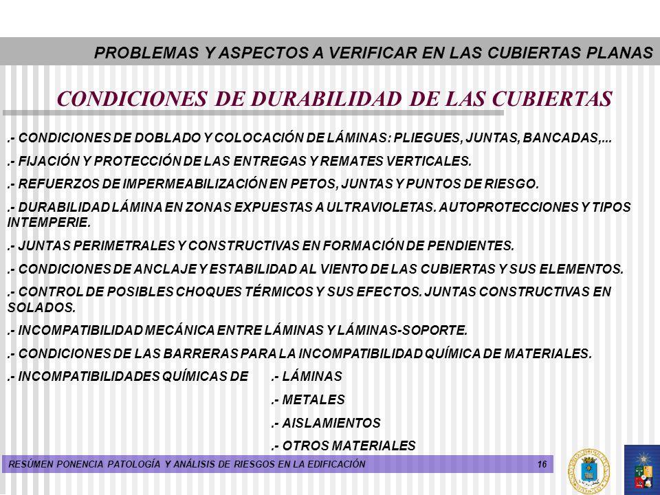 CONDICIONES DE DURABILIDAD DE LAS CUBIERTAS