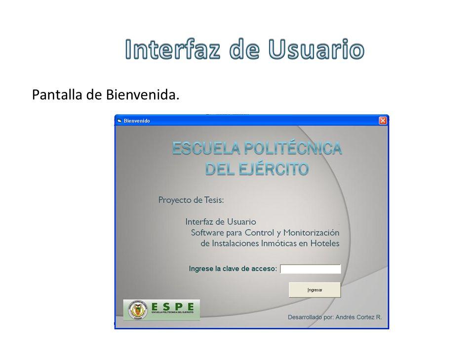 Interfaz de Usuario Pantalla de Bienvenida.