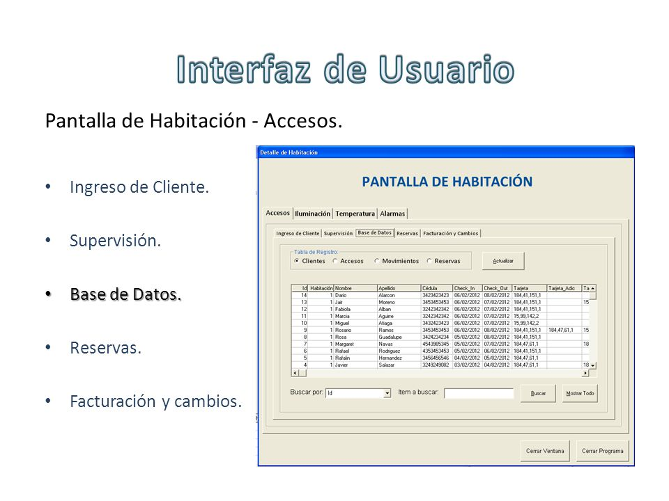 Interfaz de Usuario Pantalla de Habitación - Accesos.