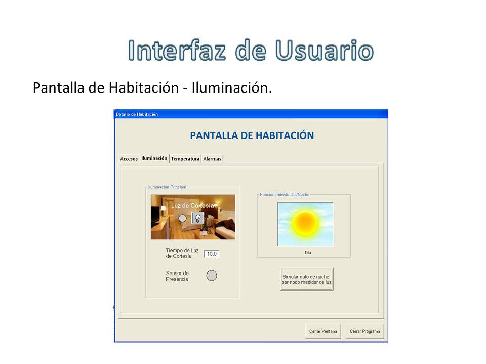 Interfaz de Usuario Pantalla de Habitación - Iluminación.