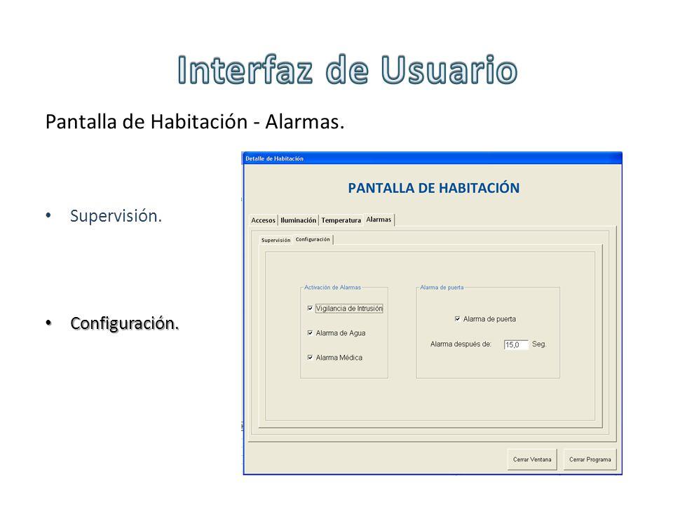 Interfaz de Usuario Pantalla de Habitación - Alarmas. Supervisión.