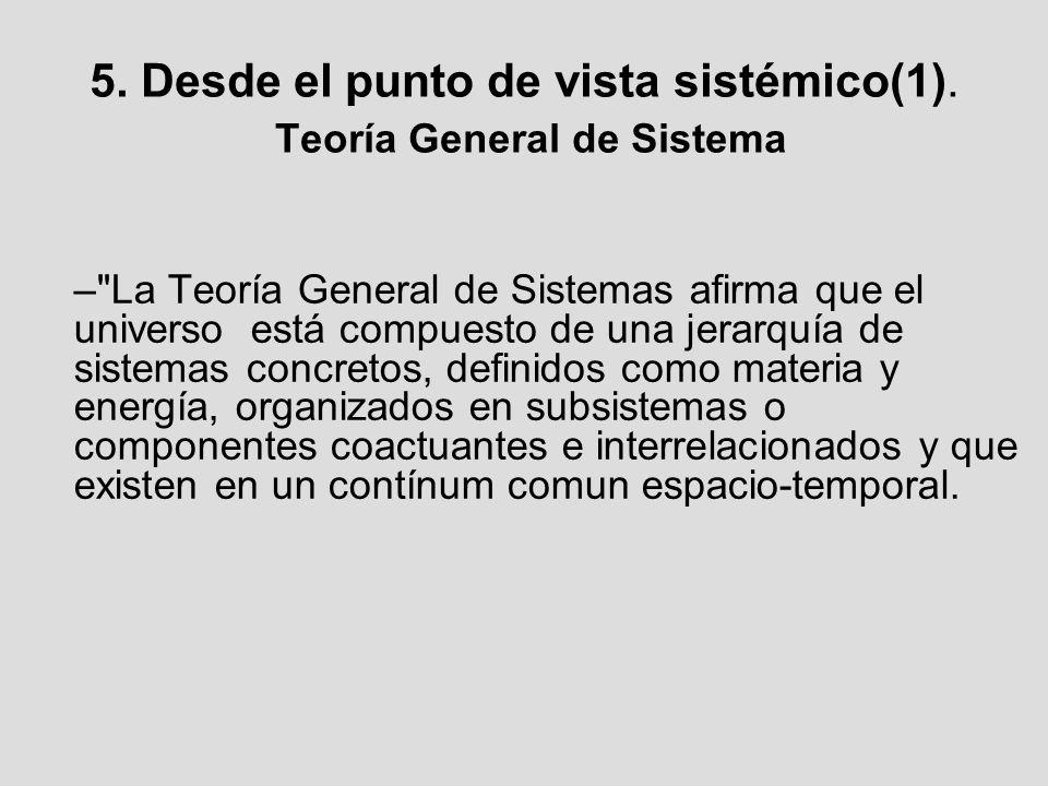 5. Desde el punto de vista sistémico(1). Teoría General de Sistema