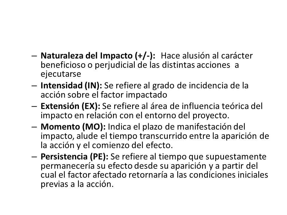 Naturaleza del Impacto (+/-):