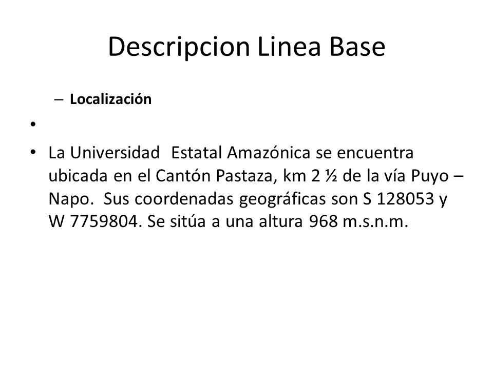 Descripcion Linea Base