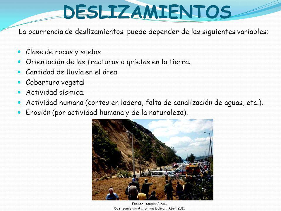 Deslizamiento Av. Simón Bolívar. Abril 2011