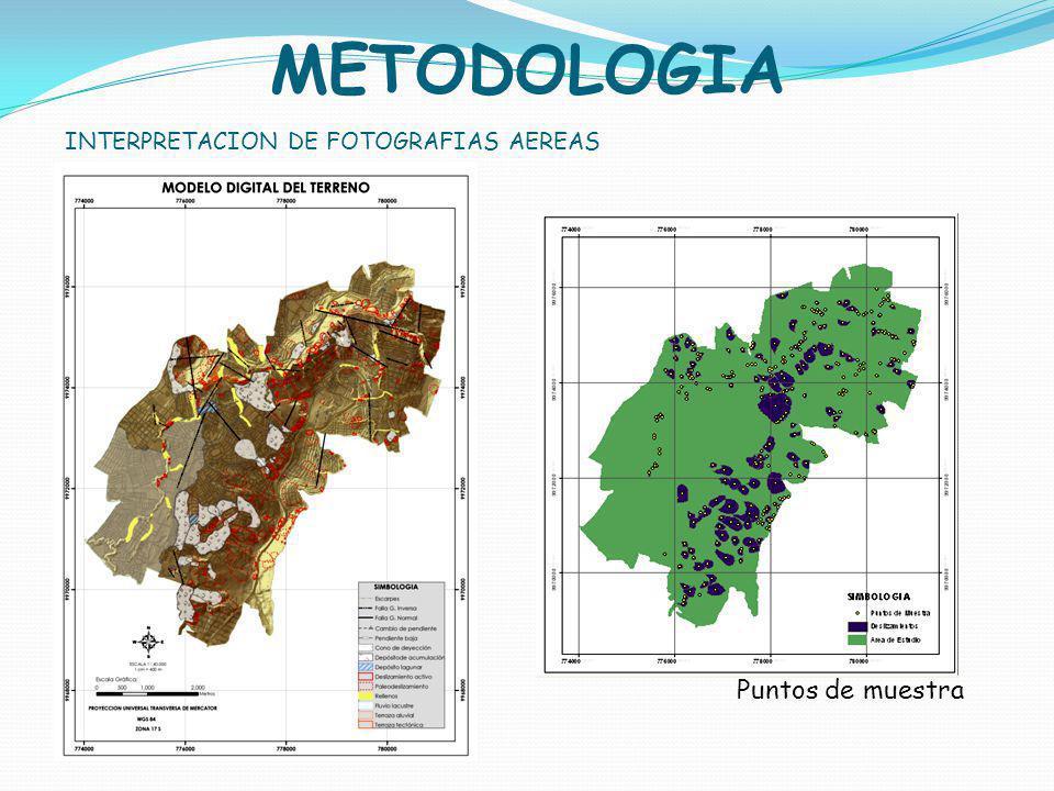 METODOLOGIA INTERPRETACION DE FOTOGRAFIAS AEREAS Puntos de muestra