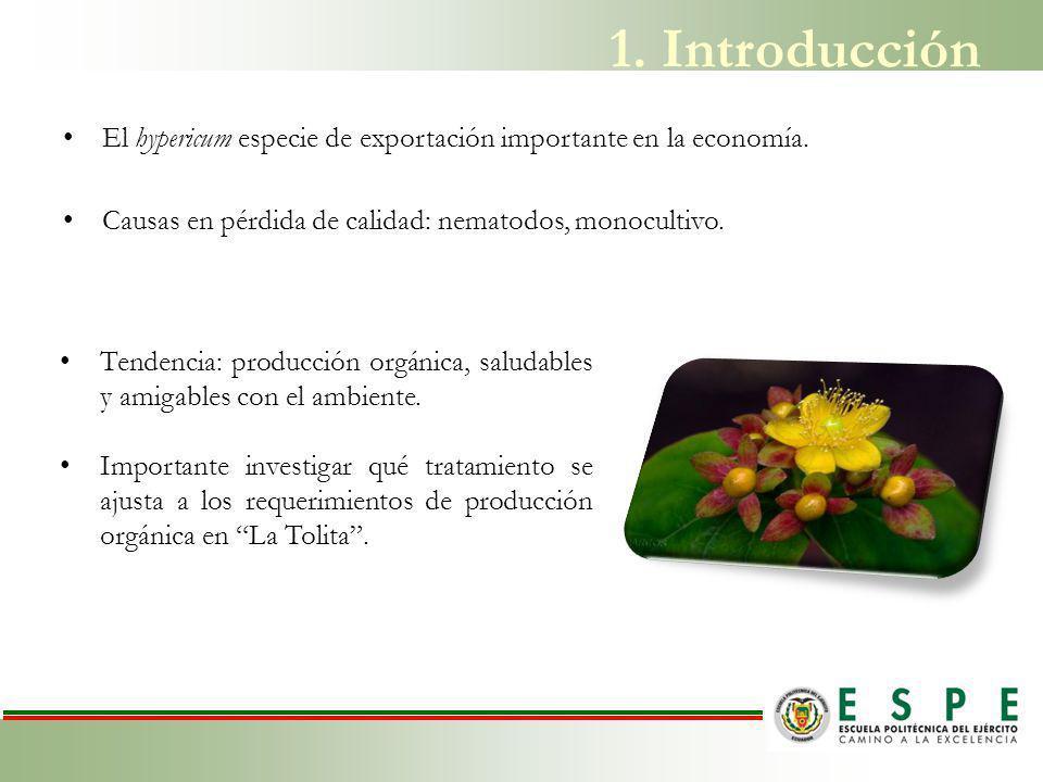 1. Introducción El hypericum especie de exportación importante en la economía. Causas en pérdida de calidad: nematodos, monocultivo.