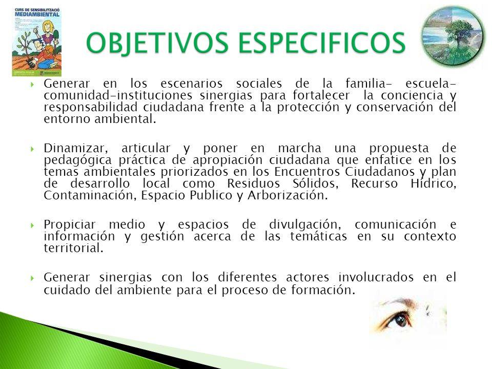 Generar en los escenarios sociales de la familia- escuela- comunidad-instituciones sinergias para fortalecer la conciencia y responsabilidad ciudadana frente a la protección y conservación del entorno ambiental.