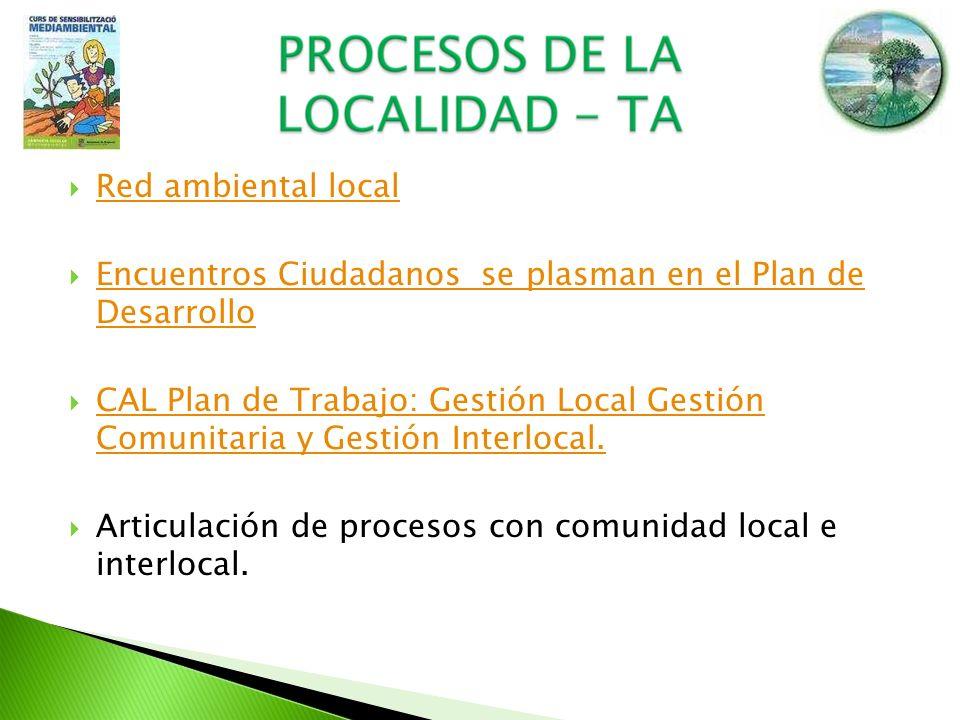 Red ambiental localEncuentros Ciudadanos se plasman en el Plan de Desarrollo.