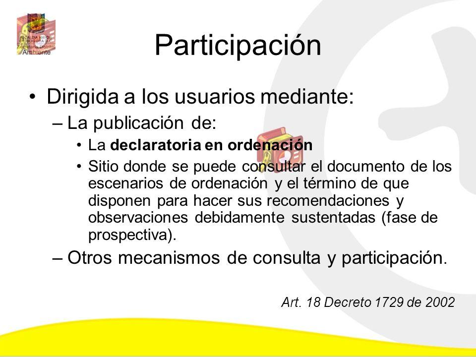 Participación Dirigida a los usuarios mediante: La publicación de: