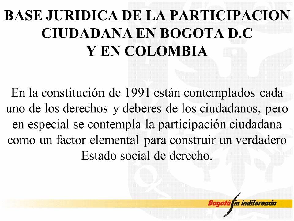 BASE JURIDICA DE LA PARTICIPACION CIUDADANA EN BOGOTA D