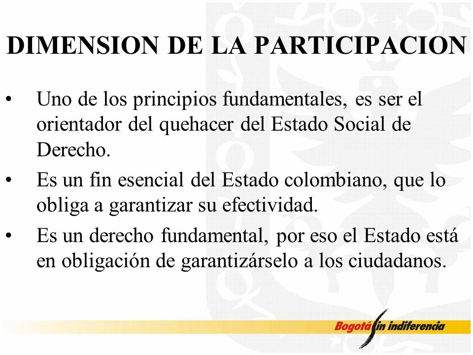 DIMENSION DE LA PARTICIPACION