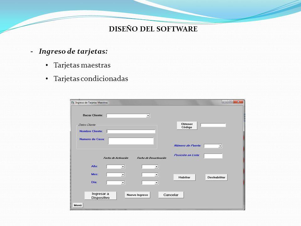 DISEÑO DEL SOFTWARE - Ingreso de tarjetas: Tarjetas maestras Tarjetas condicionadas