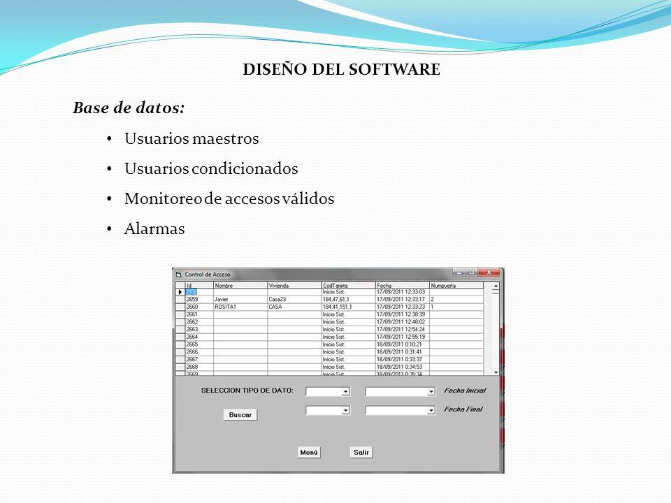 DISEÑO DEL SOFTWARE Base de datos: Usuarios maestros. Usuarios condicionados. Monitoreo de accesos válidos.