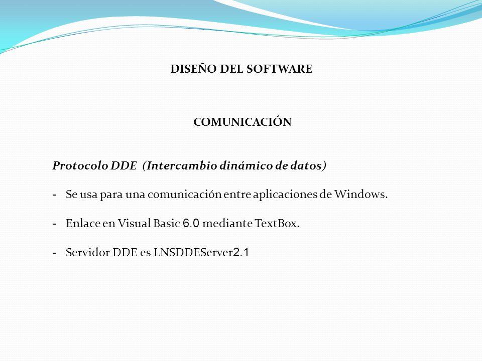 DISEÑO DEL SOFTWARE COMUNICACIÓN. Protocolo DDE (Intercambio dinámico de datos) - Se usa para una comunicación entre aplicaciones de Windows.