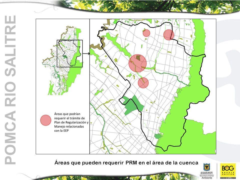 POMCA RIO SALITRE Áreas que pueden requerir PRM en el área de la cuenca