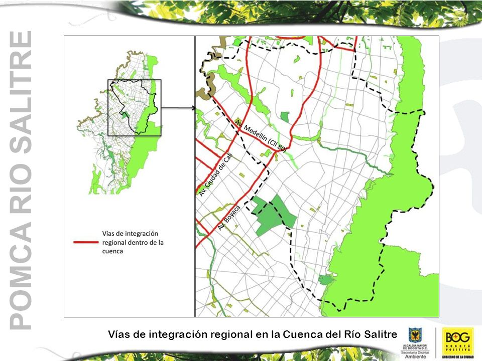 POMCA RIO SALITRE Vías de integración regional en la Cuenca del Río Salitre