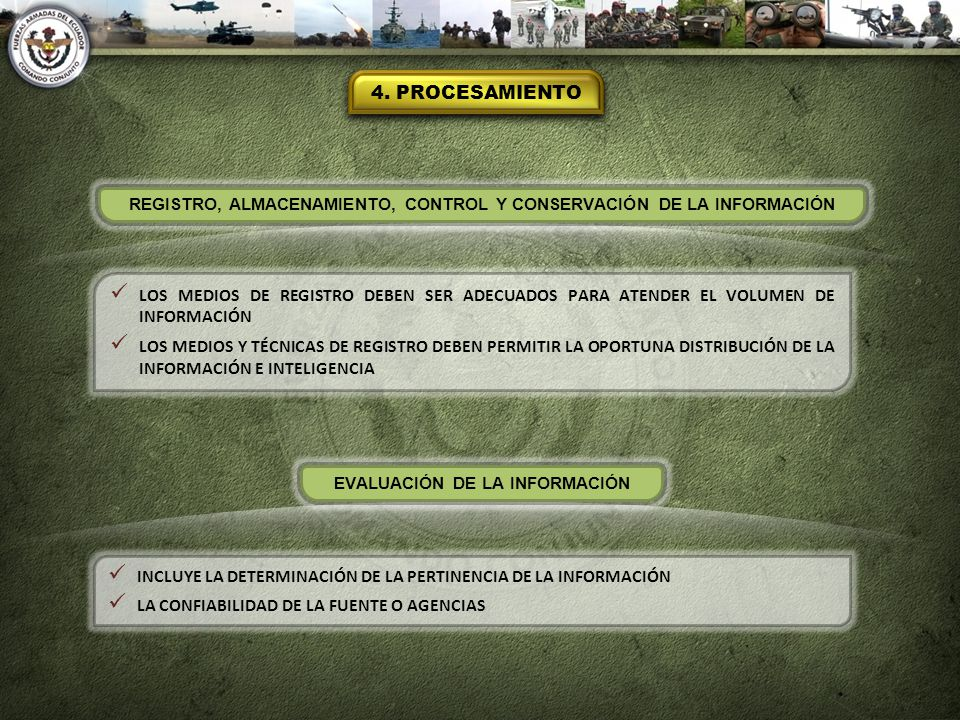 4. PROCESAMIENTO REGISTRO, ALMACENAMIENTO, CONTROL Y CONSERVACIÓN DE LA INFORMACIÓN.