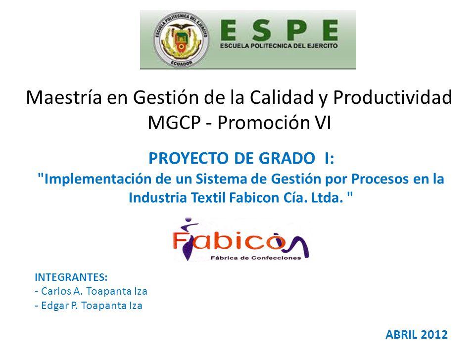 Maestría en Gestión de la Calidad y Productividad MGCP - Promoción VI