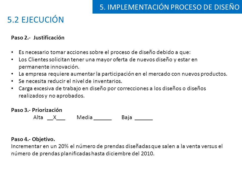 5.2 EJECUCIÓN 5. IMPLEMENTACIÓN PROCESO DE DISEÑO