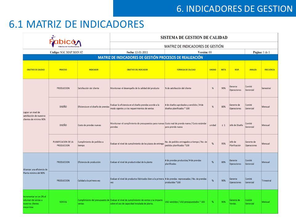 6. INDICADORES DE GESTION