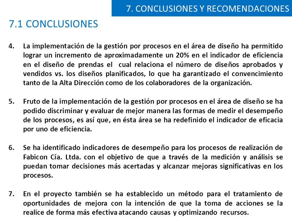 7.1 CONCLUSIONES 7. CONCLUSIONES Y RECOMENDACIONES