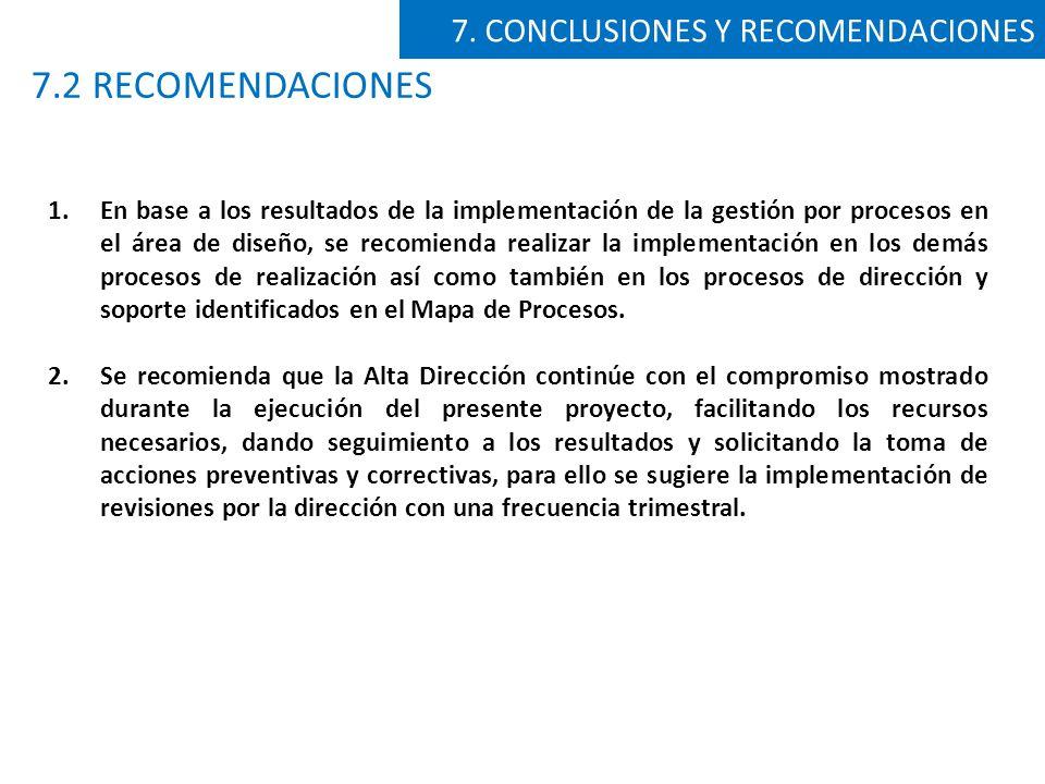 7.2 RECOMENDACIONES 7. CONCLUSIONES Y RECOMENDACIONES