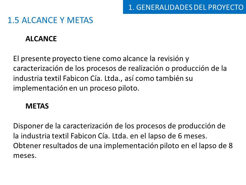 1.5 ALCANCE Y METAS 1. GENERALIDADES DEL PROYECTO ALCANCE