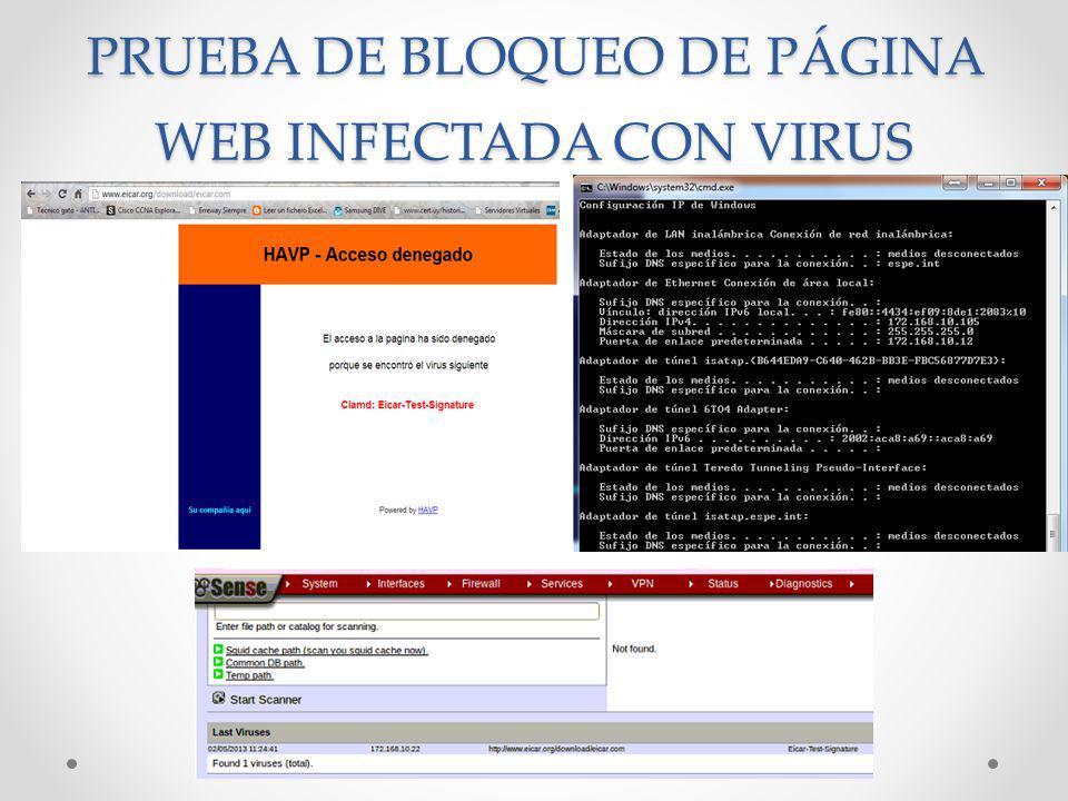 PRUEBA DE BLOQUEO DE PÁGINA WEB INFECTADA CON VIRUS