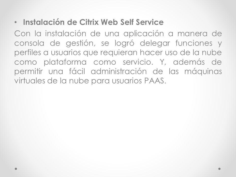 Instalación de Citrix Web Self Service