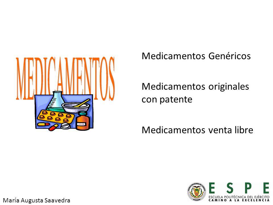 Medicamentos Genéricos Medicamentos originales con patente Medicamentos venta libre