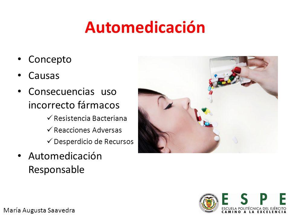 Automedicación Concepto Causas Consecuencias uso incorrecto fármacos