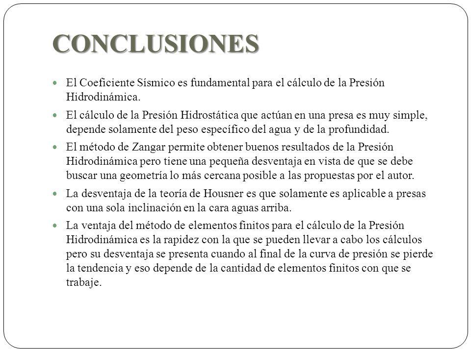 CONCLUSIONES El Coeficiente Sísmico es fundamental para el cálculo de la Presión Hidrodinámica.