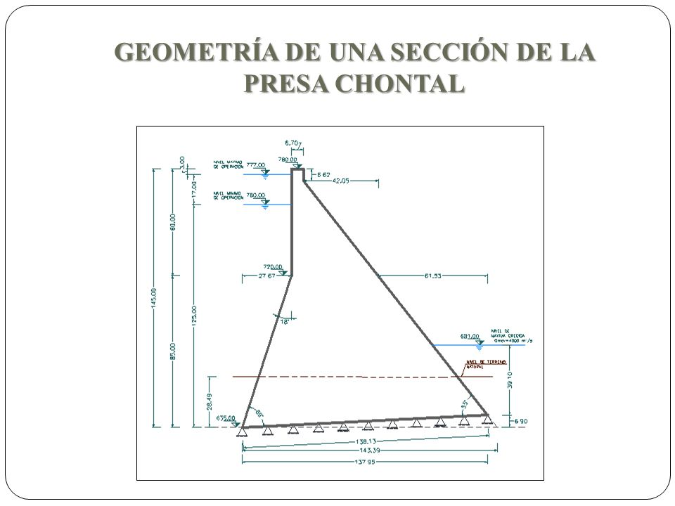 GEOMETRÍA DE UNA SECCIÓN DE LA PRESA CHONTAL