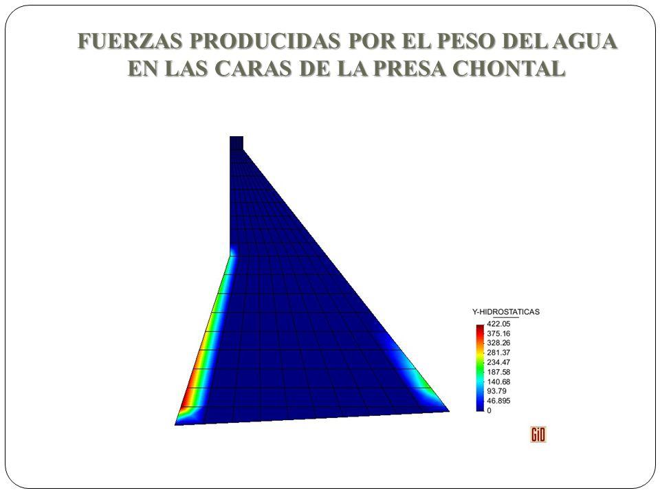 FUERZAS PRODUCIDAS POR EL PESO DEL AGUA EN LAS CARAS DE LA PRESA CHONTAL