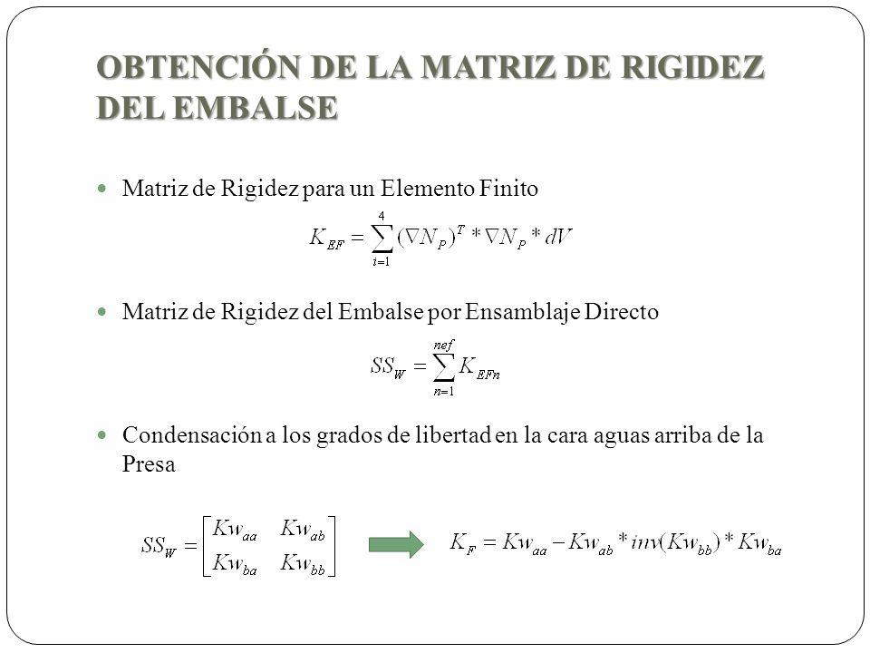 OBTENCIÓN DE LA MATRIZ DE RIGIDEZ DEL EMBALSE