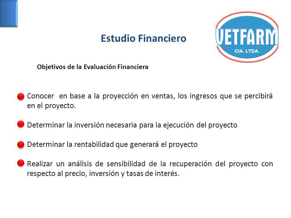Estudio Financiero Objetivos de la Evaluación Financiera. Conocer en base a la proyección en ventas, los ingresos que se percibirá en el proyecto.