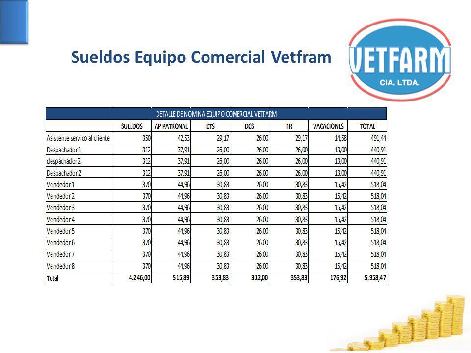 Sueldos Equipo Comercial Vetfram